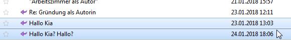 """Grafik, auf der zu sehen ist, dass eine E-Mail mit dem Betreff """"Hallo Kia?"""" am 23. Januar um 13:03 ankommt. Am 24. Januar um 18:06 kommt eine Nachfrage-E-Mail mit dem Betreff: """"Hallo Kia? Hallo?"""""""