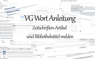 Bücher und Zeitschriften-Artikel bei der VG Wort melden